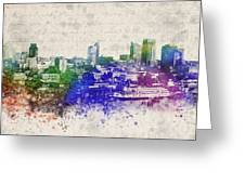 Sacramento City Skyline Greeting Card by Aged Pixel