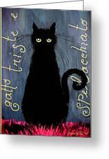 Sad And Ruffled Cat Greeting Card by Donatella Muggianu