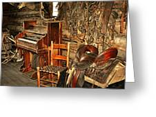 Saddle And Piano Greeting Card by Marty Koch
