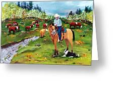 Saddle Pals Greeting Card by Gail Daley