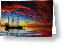 Sailboat Fractal Greeting Card by Shane Bechler