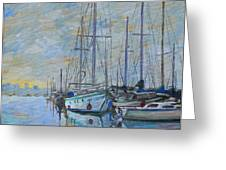 Sailboat In The Evening Fog Greeting Card by Dominique Amendola