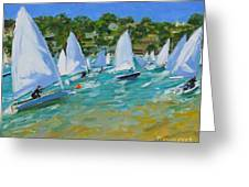 Sailboat Race Greeting Card by Andrew Macara
