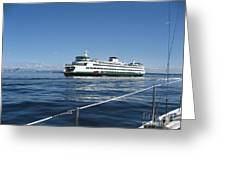 Sailboat Sees Ferryboat Greeting Card by Kym Backland