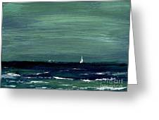 Sailboats Across A Rough Surf Ventura Greeting Card by Cathy Peterson