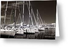 Sailboats Docked Greeting Card by John Rizzuto