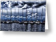 sailboats Greeting Card by Stylianos Kleanthous