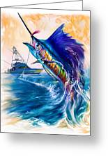 Sailfish And Sportfisher Art Greeting Card by Savlen Art