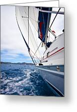 Sailing Bvi Greeting Card by Adam Romanowicz
