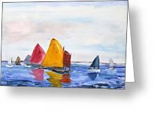 Sailing Nantucket Sound Greeting Card by Michael Helfen