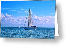 Sailing off of Key Largo Greeting Card by Chris Thaxter