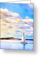 Sailing On A Beautiful Day In Boston Harbor Greeting Card by Mark Tisdale