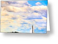 Sailing On A Beautiful Day In Boston Harbor Greeting Card by Mark E Tisdale