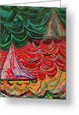 Sailing On Fire Greeting Card by Judi Mosby