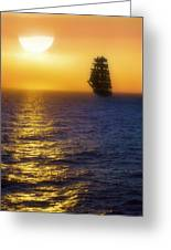 Sailing Out Of The Fog At Sunrise Greeting Card by Jason Politte