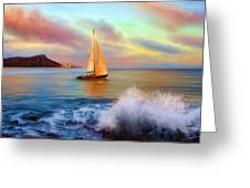 Sailing Past Waikiki Greeting Card by Dale Jackson