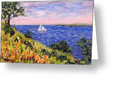 Sailing Through Belfast Maine Greeting Card by Pamela Parsons