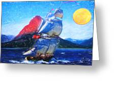 Sailing Towards High Peaks Crayon Greeting Card by MotionAge Designs