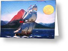Sailing Towards High Peaks Oil Greeting Card by MotionAge Designs