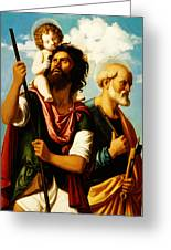 Saint Christopher With Saint Peter Greeting Card by Digital Reproductions