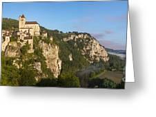 Saint Cirq Panoramic Greeting Card by Brian Jannsen