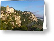 Saint Cirq Panoramic Greeting Card by Brian Jannsen