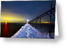 Saint Joseph Pier At Night Greeting Card by Twenty Two North Photography