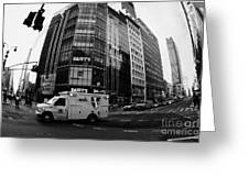 Saint Vincent Catholic Medical Centre Ambulance Crossing 6th Avenue And Broadway Greeting Card by Joe Fox