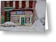 Salaison Ideale Montreal Greeting Card by Carole Spandau
