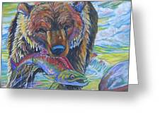 salmon fishing grizzly Greeting Card by Jenn Cunningham