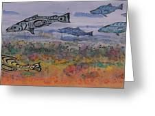 Salmon In The Stream Greeting Card by Carolyn Doe
