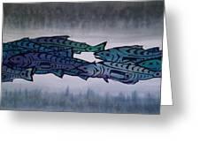 Salmon Passing Greeting Card by Carolyn Doe
