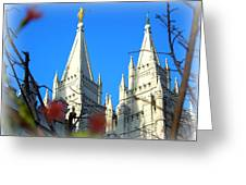 Salt Lake Temple Top Greeting Card by Heidi Manly