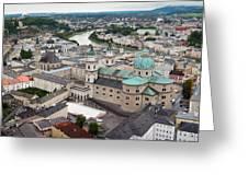 Salzburg Panoramic Greeting Card by Adam Romanowicz