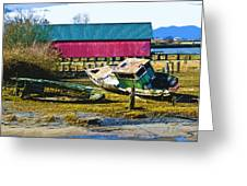 Samish Island Abandoned Boat Greeting Card by John Parks