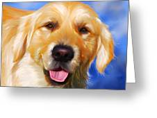 Happy Golden Retriever Painting Greeting Card by Michelle Wrighton