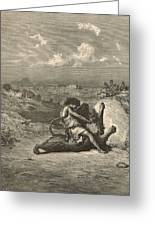 Samson Slaying The Lion Greeting Card by Antique Engravings