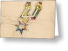 San Antonio Spurs Logo Art Greeting Card by Florian Rodarte
