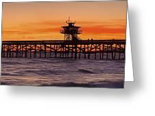 San Clemente Municipal Pier In Sunset Greeting Card by Richard Cummins