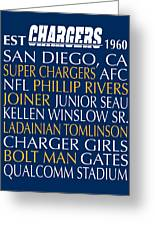 San Diego Chargers Greeting Card by Jaime Friedman