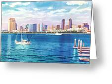 San Diego Skyline And Convention Ctr Greeting Card by Mary Helmreich