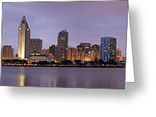 San Diego Skyline At Dusk Panoramic Greeting Card by Adam Romanowicz