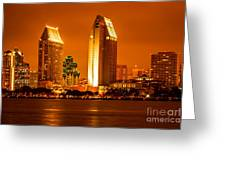 San Diego Skyline At Night Along San Diego Bay Greeting Card by Paul Velgos