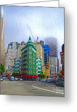 San Francisco - Columbus Street Greeting Card by Gregory Dyer