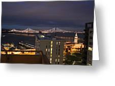 San Francisco Embarccadero City Lights With Bay Bridge Greeting Card by Ron McMath