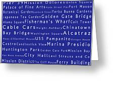 San Francisco in Words Blue Greeting Card by Sabine Jacobs