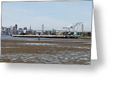 San Francisco Skyline And The Bay Bridge Through The Port Of Oakland 5d22238 Greeting Card by Wingsdomain Art and Photography