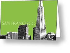 San Francisco Skyline Transamerica Pyramid Building - Olive Greeting Card by DB Artist
