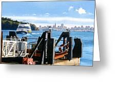 San Francisco Tiburon Ferry Greeting Card by Mary Helmreich
