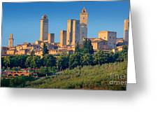 San Gimignano Skyline Greeting Card by Inge Johnsson